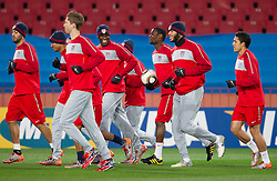 The US World Cup team sprint during training session at Ellis Park on June 17, 2010 in Johannesburg, South Africa. USA will play their next World Cup Group C match against Slovenia at Ellis Park in on Friday June 18, 2010, in Johannesburg, South Africa. (Photo by Vid Ponikvar / Sportida)