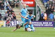Joe Edwards and Chris Clemments  during the EFL Sky Bet League 2 match between Plymouth Argyle and Cheltenham Town at Home Park, Plymouth, England on 21 September 2019.