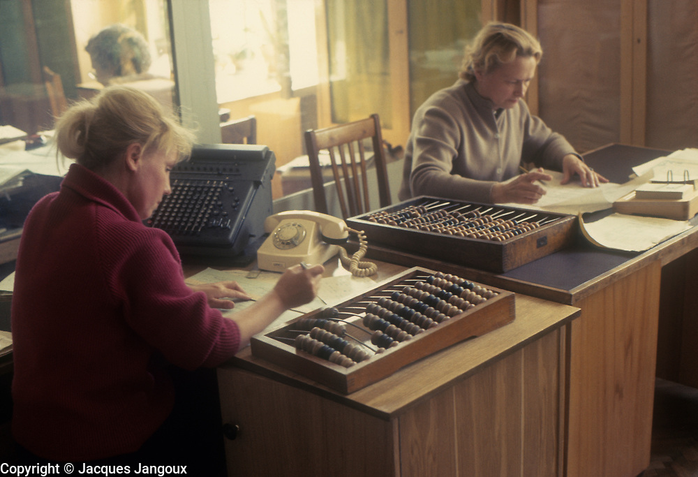 USSR 1968. Women in office using abacus.