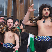 The Irish Rugby team receive an official maori welcome as the The Irish Rugby Team arrive at Queenstown airport, for the IRB Rugby World Cup 2011, Queenstown, New Zealand, 1st September 2011. Photo Tim Clayton...