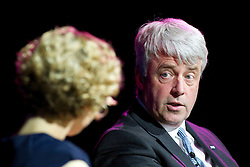 © Licensed to London News Pictures. 20/06/2012. Manchester , UK . Andrew Lansley addresses the NHS Confederation Annual Conference at Manchester Central , in Manchester . Following his speech , the Health Minister was interviewed by Cathy Newman in front of the live audience . Photo credit : Joel Goodman/LNP