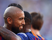 Malcolm Filipe Silva de Oliveira of FC Barcelona celebrates his goal with Arturo Vidal during the Joan Gamper trophy game between FC Barcelona and CA Boca Juniors in Camp Nou Stadium at Barcelona, on 15 of August of 2018, Spain, Photo Pressinphoto / Pro Shots / ProSportsImages / DPPI