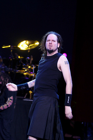 Korn with .Jonathan Davis -vocals.James Shaffer a.k.a. Munky - guitar.Reginald Arvizu a.k.a. Fieldy - bass.David Silveria - drums. performing at PNC Banks Arts Center in Holmdel New Jersey during Family Values Tour 2006 on Sept 1, 2006