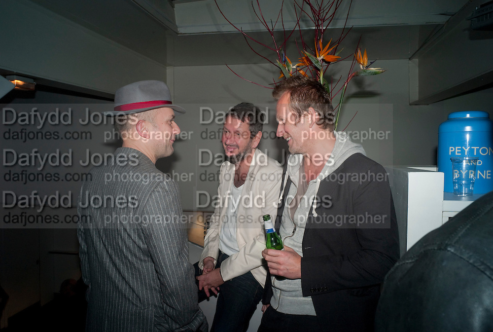 MARC QUINN; JOHN KORN; MIKE PENN, Vanity Fair  hosted  UK Premiere and party for Beyond Time. A film about the artist William Turnbull made by his son Alex Turnbull. Narrated by Jude Law. I.C.A. London. 17 November 2011<br /> <br />  , -DO NOT ARCHIVE-© Copyright Photograph by Dafydd Jones. 248 Clapham Rd. London SW9 0PZ. Tel 0207 820 0771. www.dafjones.com.