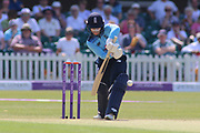 Tammy Beaumont of England (12) clips the ball for four runs off her legs during the Royal London Women's One Day International match between England Women Cricket and Australia at the Fischer County Ground, Grace Road, Leicester, United Kingdom on 4 July 2019.