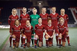 WIDNES, ENGLAND - Wednesday, February 7, 2018: Liverpool's players line-up for a team group photograph before the FA Women's Super League 1 match between Liverpool Ladies FC and Arsenal Ladies FC at the Halton Stadium. Back row L-R: Kate Longhurst, captain Sophie Ingle, goalkeeper Rebecca Flaherty, Caroline Weir, Casey Stoney, Alex Greenwood. Front row L-R: Jessica Clarke, Alicia Johnson, Bethany England, Martha Harris, Laura Coombs. (Pic by David Rawcliffe/Propaganda)