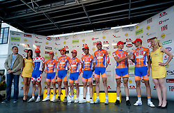 Best team Loborika at flower ceremony after the 4th Stage  between Ptuj and Novo mesto (181 km) at 18th Tour de Slovenie 2011, on June 19, 2011, in Slovenia. (Photo by Vid Ponikvar / Sportida)