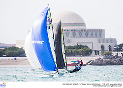 2014 ISAF Sailing World Cup Final, Abu Dhabi, United Arab Emirate. 30th november – Medal Race. All ten Olympic sailing events are being contested in Abu Dhabi from with an open kiteboarding event joining the fray around Lulu Island off the UAE capital's stunning Corniche. Prize money will be awarded to the top three overall finishers in each of the Olympic events from a total prize purse of US$200,000. The Abu Dhabi Sailing and Yacht Club is the host of the ISAF Sailing World Cup Final with some technical facilities located at the adjacent Abu Dhabi International Marine Sports Club. The venue is located on the main island of the city with immediate access to the beautiful waters of the Arabian Gulf.