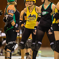 2014-08-30: Ohio Roller Girls host the last bout of the home season with a doubleheader against über-rivals, Steel City Roller Derby of Pittsburgh, PA. at Louche Building - Ohio Expo Center in Columbus, Ohio. <br /> <br /> Mandatory credit: Dorn Byg/Byg Day LLC