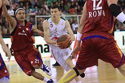 Ibrahim Jaaber (21) and Vlado Ilievski (7) at basketball match of 3rd Round of Euroleague between KK Union Olimpija (SLO) and Lottomatica Roma (ITA), in Arena Tivoli, Ljubljana, Slovenia, on November 6, 2008. Lottomatica  won the match 78:67.
