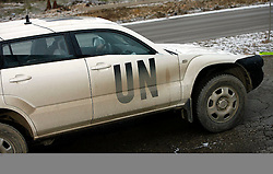 PRISTINA, KOSOVO - DECEMBER 14 - Prisotnost vojaskih in policijskih enot UN, UNMIK je v Pristini normalna, saj jih srecamo na vsakem koraku.