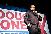 "BIRMINGHAM, AL – DECEMBER 11, 2017: On the eve of the Special General Election for Senate, basketball star Charles Barkley speaks to the crowd and endorses democratic candidate Doug Jones in a ""get out the vote"" rally.  CREDIT: Bob Miller for The New York Times"