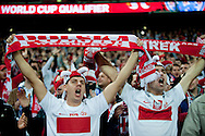 Poland's supporters during the 2014 World Cup Qualifying Group H football match between England and Poland at Wembley Stadium in London on October 15, 2013.<br /> <br /> Great Britain, London, October 15, 2013<br /> <br /> Picture also available in RAW (NEF) or TIFF format on special request.<br /> <br /> For editorial use only. Any commercial or promotional use requires permission.<br /> <br /> Mandatory credit:<br /> Photo by © Adam Nurkiewicz / Mediasport