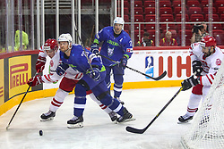 Alan Lyszczarczyk of Poland vs Luka Vidmar of Slovenia during Ice Hockey match between National Teams of Slovenia and Poland in Round #2 of 2018 IIHF Ice Hockey World Championship Division I Group A, on April 23, 2018 in Budapest, Hungary. Photo by David Balogh / Sportida