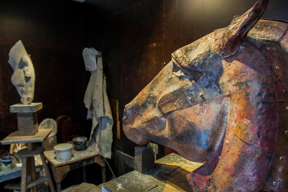 His workshop - Nic Fiddian-Green (sculptor of monumental neo-classical horses heads) sets up his iron foundry in Bruton Place, Mayfair to demonstrate the ancient art of 'lost wax' casting and also hand patinating.  He also has a new solo show at Sladmore Contemporary from 10th June until 31st July 2015. The exhibition will include a recreation of the artist's hilltop surrey studio and workshop,  with new work in  progress.