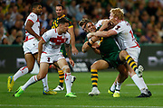 Valentine Holmes of Australia gets tackled by James Graham of England during the Rugby League World Cup match between Australia and England at Melbourne Rectangular Stadium, Melbourne, Australia on 27 October 2017. Photo by Mark  Witte.