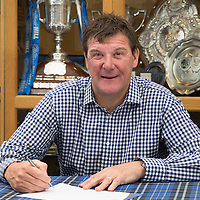 St Johnstone Manager Tommy Wright pictured at McDiarmid Park siging his new three year contract..11.08.14<br /> Picture by Graeme Hart.<br /> Copyright Perthshire Picture Agency<br /> Tel: 01738 623350  Mobile: 07990 594431