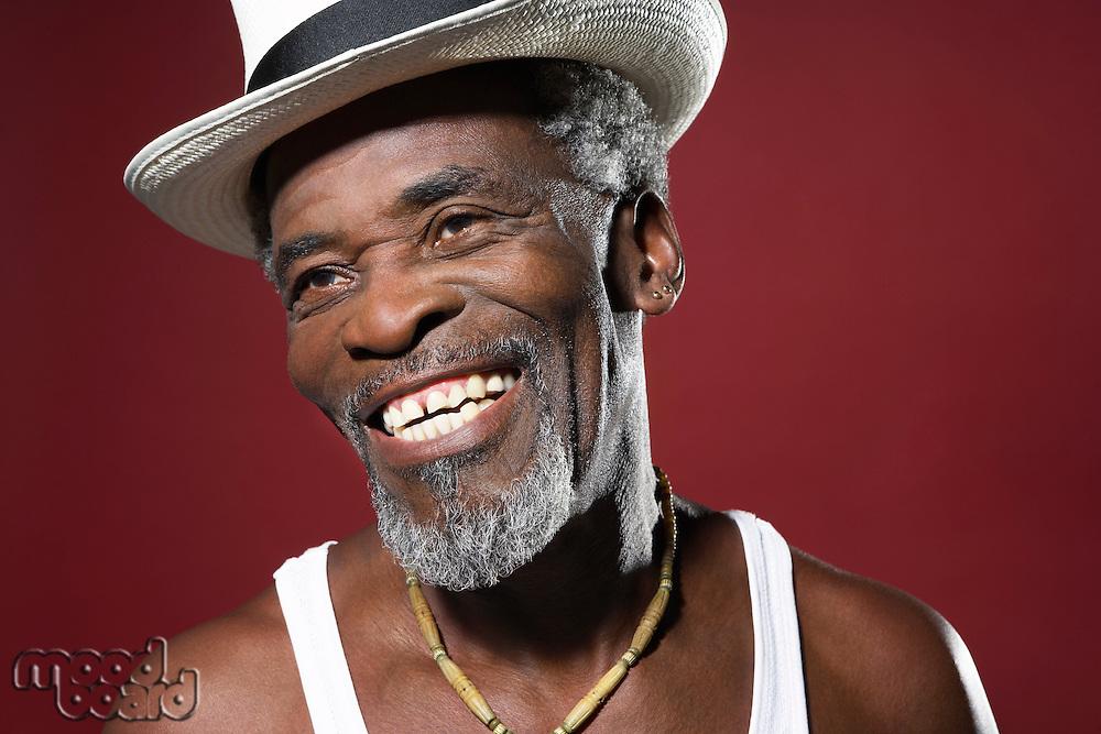 Smiling Man Wearing Fedora