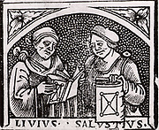 Sallust (Gaius Sallustrius Crispus) (16-34 BC) right, Roman historian and politician, and Livy (Titus Livius) (59 BC-19 AD) Roman historian. Woodcut from the title page of Appolonius of Perga 'Opera' (Venice, 1537).