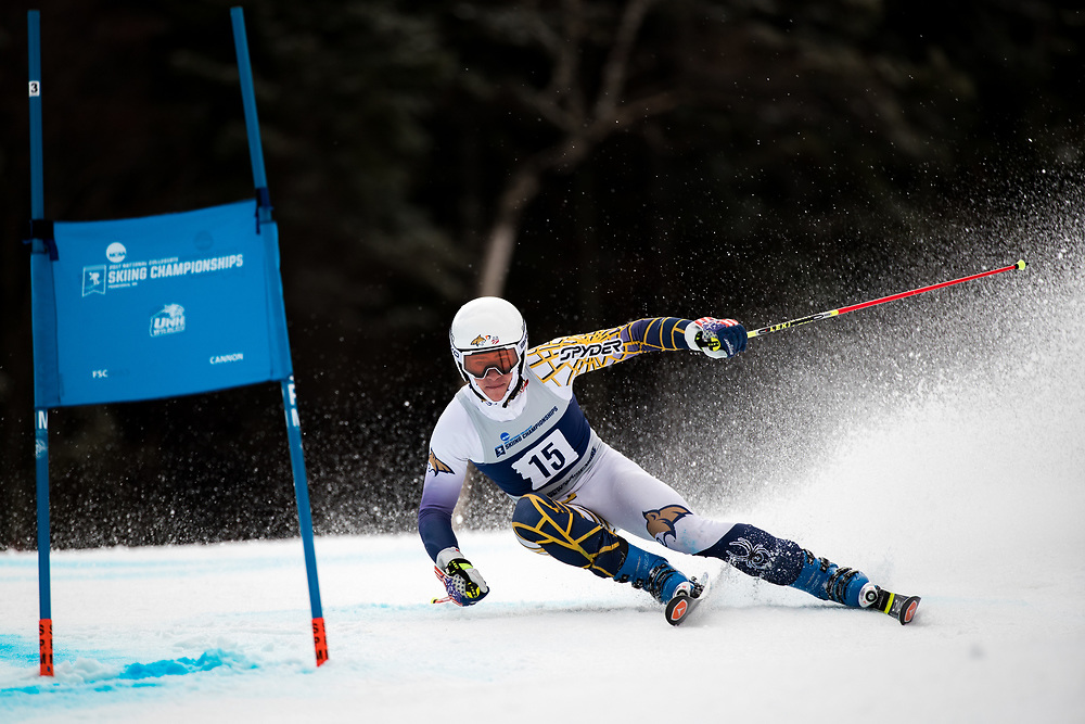 Garret Driller of Montana State University<br /> Giant Slalom<br /> NCAA Skiing Championships<br /> New Hampshire<br /> March 8, 2017