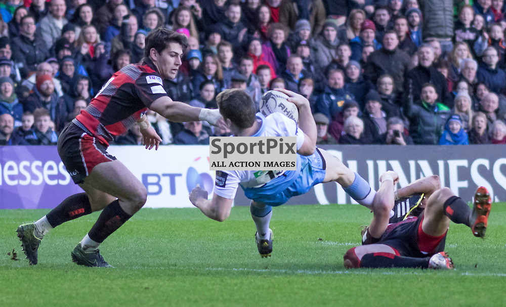 Glasgow #13. Mark Bennett dives over the line to score the first try of the match. Edinburgh Rugby v Glasgow Warriors, 27th December 2015