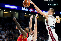 Tyrese Rice of Montenegro blocked by Kristaps Porzingis of Latvia during basketball match between National Teams of Latvia and Montenegro at Day 11 in Round of 16 of the FIBA EuroBasket 2017 at Sinan Erdem Dome in Istanbul, Turkey on September 10, 2017. Photo by Vid Ponikvar / Sportida