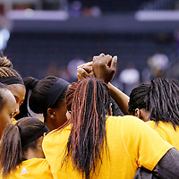 22 June 2014: Los Angeles Sparks players gather during the San Antonio Stars 72-69 victory over the Los Angeles Sparks, at the Staples Center, Los Angeles, California, USA.