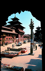 NEPAL KATHMANDU PATAN APR95 - View on Durbar Square with the Taleju Bhawani, part of the Royal Palace of Patan. The Patan palace predates the palaces of Kathmandu and Bhaktapur, and its origins can be traced back to the 14th century. <br />