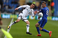 Jed Wallace of Millwall (l) is challenged by Joe Ralls of Cardiff city &reg;. EFL Skybet championship match, Cardiff city v Millwall at the Cardiff city stadium in Cardiff, South Wales on Saturday 28th October 2017.<br /> pic by Andrew Orchard, Andrew Orchard sports photography.