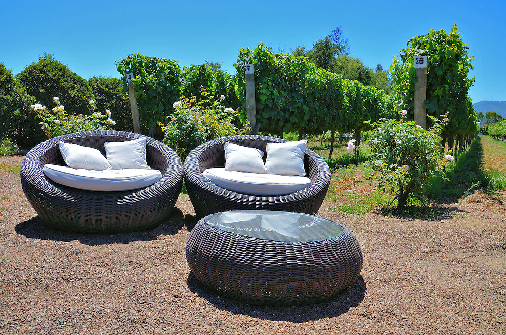 Outdoor Loungers at Casas del Bosque Vineyard in Casablanca, Chile <br />