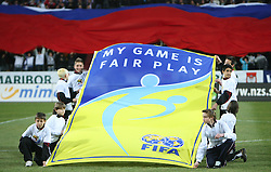 Flag of Fair Play at the 8th day qualification game of 2010 FIFA WORLD CUP SOUTH AFRICA in Group 3 between Slovenia and Czech Republic at Stadion Ljudski vrt, on March 28, 2008, in Maribor, Slovenia. Slovenia vs Czech Republic 0 : 0. (Photo by Vid Ponikvar / Sportida)