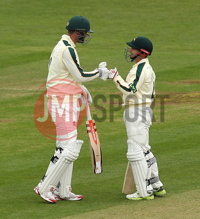 Nottinghamshire's Alex Hales fist bumps Nottinghamshire's James Taylor after reaching his fifty - Photo mandatory by-line: Robbie Stephenson/JMP - Mobile: 07966 386802 - 26/04/2015 - SPORT - Cricket - Southampton - The Ageas Bowl - Hampshire v Nottinghamshire - County Championship Division One