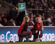 "Twickenham, Surrey. UK.  ""Ball Girls"" during the England vs Samoa, Autumn International. Old Mutual Wealth Series. RFU Stadium, Twickenham. Surrey, England.<br /> <br /> Saturday  25.11.17  <br /> <br /> [Mandatory Credit Peter SPURRIER/Intersport Images]"