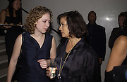 Chelsea Clinton and Bianca Jagger. Donna Karan party at her shop with concert by Debbie Harry. 28 October 2002. © Copyright Photograph by Dafydd Jones 66 Stockwell Park Rd. London SW9 0DA Tel 020 7733 0108 www.dafjones.com