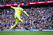 Chelsea goalkeeper Thibaut Courtois (13) celebrate 2nd goal for  CFC after Willian (22) shot from penalty during the The FA Cup semi final match between Chelsea and Tottenham Hotspur at Stamford Bridge, London, England on 22 April 2017. Photo by Sebastian Frej.