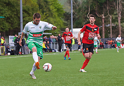 NEWTOWN, WALES - Saturday, May 2, 2015: The New Saints' Kai Edwards in action against Newtown during the FAW Welsh Cup final match at Latham Park. (Pic by Ian Cook/Propaganda)