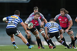Stephan Greeff of the Pumas attempts to get past Michael Willemse of Western Province and Nizaam Carr of Western Province during the Currie Cup Premier Division match between the DHL Western Province and the Pumas held at the DHL Newlands rugby stadium in Cape Town, South Africa on the 17th September  2016<br /> <br /> Photo by: Shaun Roy / RealTime Images