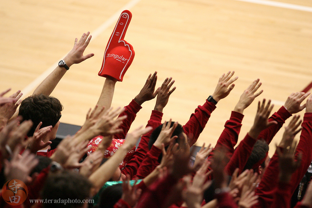 January 31, 2007; Stanford, CA, USA; Stanford Cardinal students hold their hands up for a free throw attempt during the game against the Gonzaga Bulldogs at Maples Pavilion. The Bulldogs defeated the Cardinal 90-86.