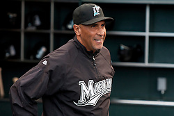 July 26, 2010; San Francisco, CA, USA;  Florida Marlins manager Edwin Rodriguez (36) before the game against the San Francisco Giants at AT&T Park.  Florida defeated San Francisco 4-3.