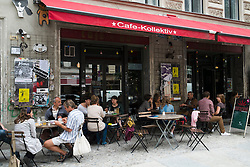 Busy cafe in bohemian Prenzlauer Berg district of Berlin Germany