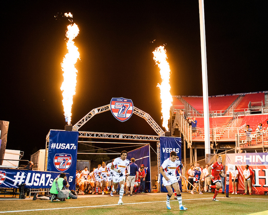 The United States and Canada enter the field of play during the pool stage of the 2016 USA Sevens leg of the HSBC Sevens World Series at Sam Boyd Stadium  Las Vegas, Nevada. March 4, 2016.<br /> <br /> Jack Megaw for USA Sevens.<br /> <br /> www.jackmegaw.com<br /> <br /> 610.764.3094<br /> jack@jackmegaw.com