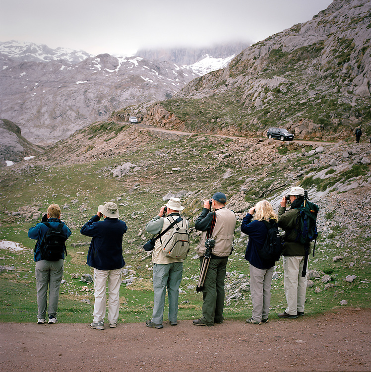 Bird watchers in the Picos de Europa mountains in Northern Spain.
