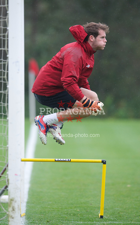 CARDIFF, WALES - Tuesday, October 9, 2012: Wales' goalkeeper Owain Fon Williams during a training session at the Vale of Glamorgan ahead of the 2014 FIFA World Cup Brazil Qualifying Group A match against Scotland. (Pic by David Rawcliffe/Propaganda)