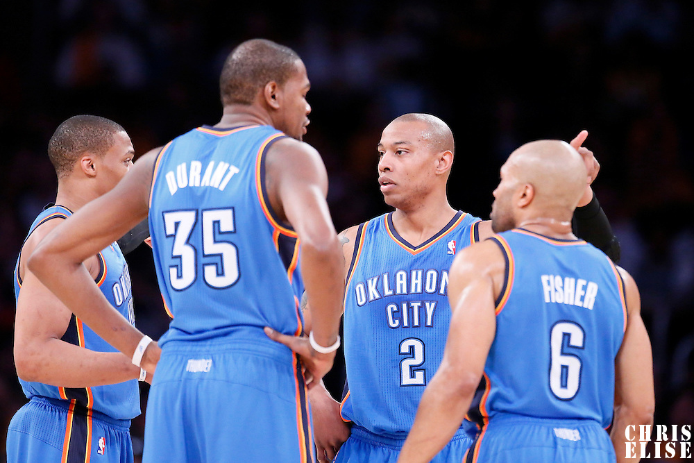 09 March 2014: Oklahoma City Thunder small forward Caron Butler (2) talks to Oklahoma City Thunder point guard Russell Westbrook (0), Oklahoma City Thunder small forward Kevin Durant (35) and Oklahoma City Thunder point guard Derek Fisher (6) during the Los Angeles Lakers 114-110 victory over the Oklahoma City Thunder at the Staples Center, Los Angeles, California, USA.