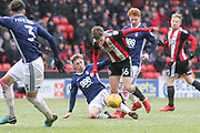 David Brooks of Sheffield United (36) tackled by Ben Osborn of Nottingham Forest (11) during the EFL Sky Bet Championship match between Sheffield United and Nottingham Forest at Bramall Lane, Sheffield, England on 17 March 2018. Picture by Mick Haynes.