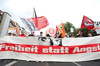 """12 SEP 2009, BERLIN/GERMANY:<br /> Demonstration """"Freiheit statt Angst - Stoppt den Ueberwachungswahn"""" gegen Ueberwachung, Internet-Sperren, Vorratsdatenspeicherung nach einem Aufruf von Gewerkschaften (u.a. DGB, ver.di), Parteien (u.a. B90/Gruene, Die Linke, Jusos, Piratenpartei), Menschenrechtsorganisationen (u.a. Humanistische Union, Mehr Demokratie, Pro Asyl, Attac), Berufsverbaenden (Deutscher Anwaltverein, dju, Freie Aerzteschaft) und Buergerinitiativen (AK Daten,  Chaos Computer Club), Leipziger Strasse<br /> IMAGE: 20090912-01-008"""