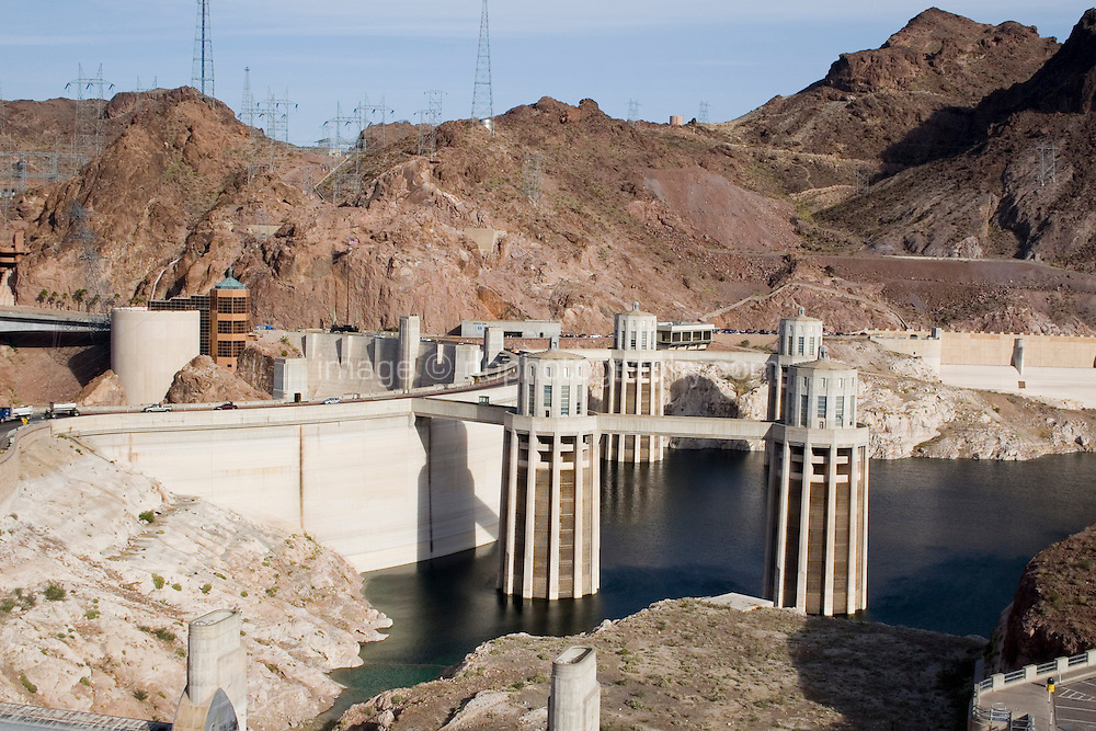 Hoover Dam on the Colorado River in Nevada and Arizona. Hoover Dam creates Lake Mead the manmade lake and reservoir, currently in the news for it's dropping water levels which researchers believe is connected to climate change.