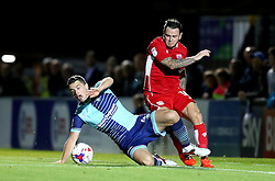 Lee Tomlin of Bristol City is tackled by Stephen McGinn of Wycombe Wanderers - Mandatory by-line: Robbie Stephenson/JMP - 09/08/2016 - FOOTBALL - Adams Park - High Wycombe, England - Wycombe Wanderers v Bristol City - EFL League Cup