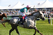 LOGICIAN (3) ridden by Frankie Dettori and trained by John Gosden winning The Group 1 William Hill St Leger Stakes over 1m 6f (£700,000) in a record time during the fourth and final day of the St Leger Festival at Doncaster Racecourse, Doncaster, United Kingdom on 14 September 2019.