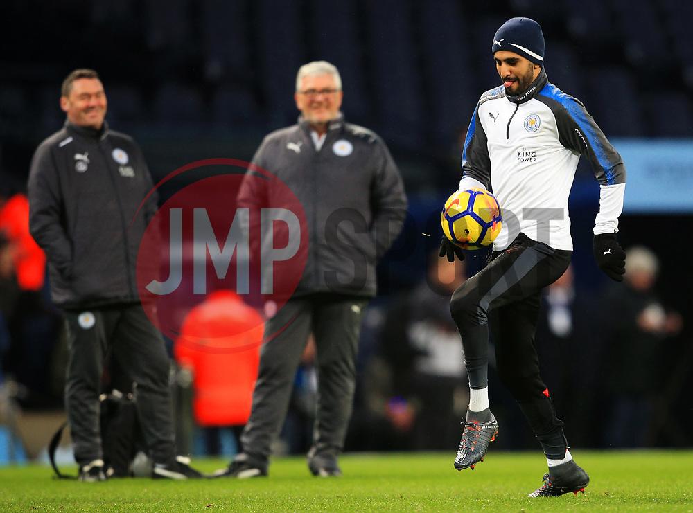 Riyad Mahrez of Leicester City warms up - Mandatory by-line: Matt McNulty/JMP - 10/02/2018 - FOOTBALL - Etihad Stadium - Manchester, England - Manchester City v Leicester City - Premier League